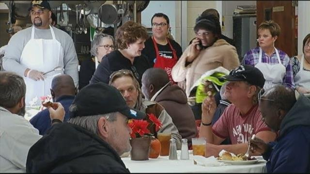 Volunteers serve up Thanksgiving dinner at the Salvation Army
