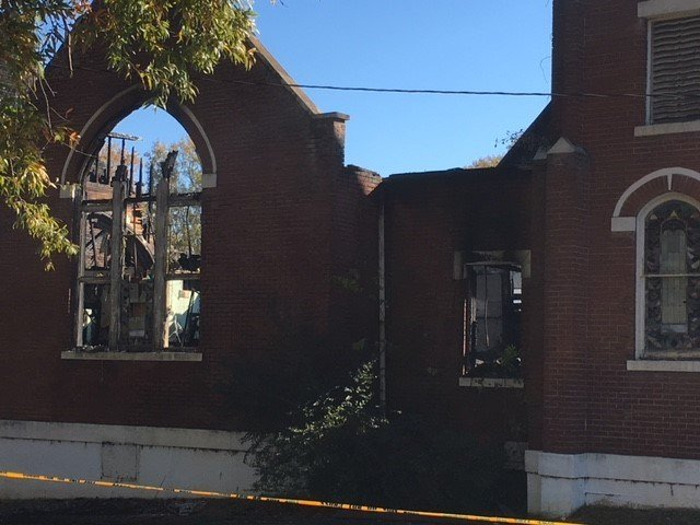 The old sanctuary was destroyed by the fire (FOX Carolina/ Nov. 24, 2017)