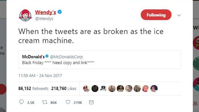 Wendy's tweet goes viral (Source: Wendy's Twitter account)