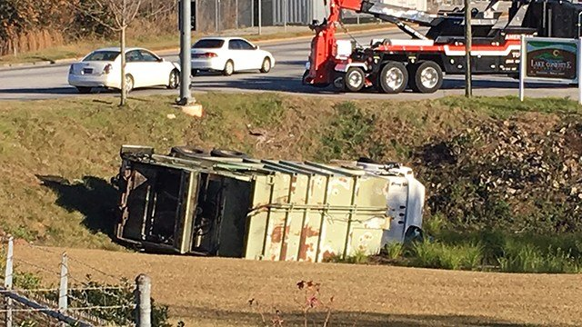 Truck overturned in Conestee Park (Nov. 27, 2017/FOX Carolina)