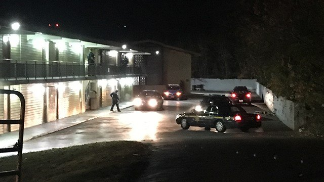 Scene at Economy Inn on Augusta Road. (11/28/17 FOX Carolina)