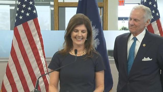 Gov. McMaster and Pamela Evette (Nov. 28, 2017/FOX Carolina)