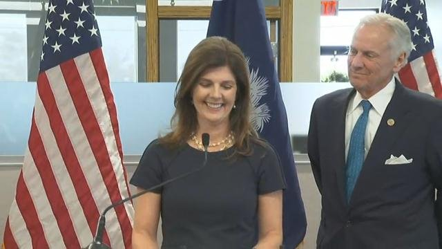 Gov. McMaster and Pamela Evette (Nov. 28, 2017/FOX Carolina)