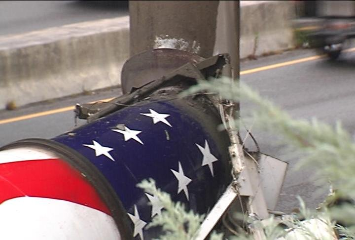 A concrete truck hit a support column along Interstate 85 slowing traffic. (Sept. 21/FOX Carolina)