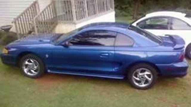 Yeargin's blue 1998 Ford Mustang (Pickens County Sheriff's Office)