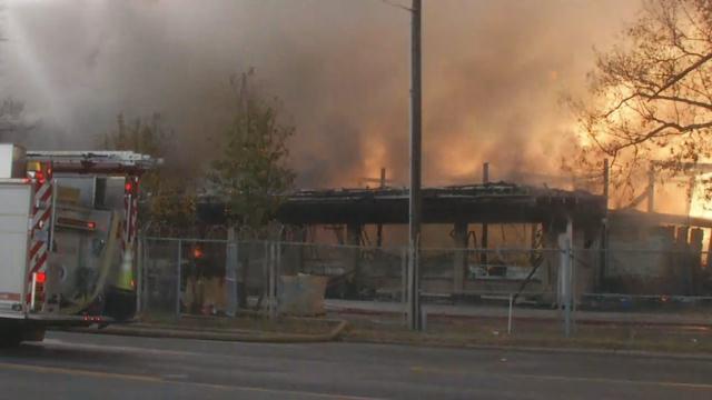 Flames continue to shoot from the building  (FOX Carolina/ Dec. 1, 2017)