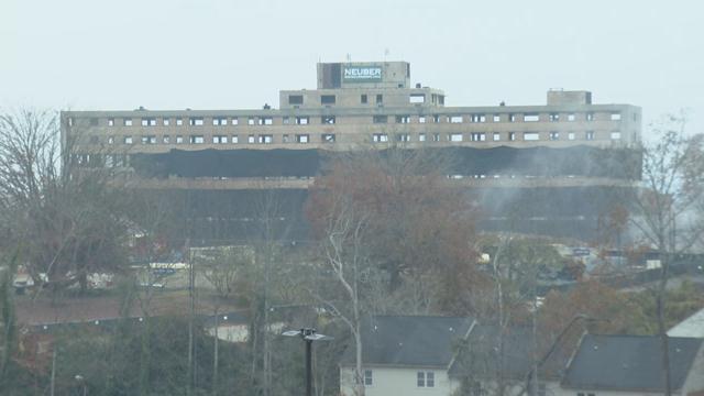Clemson House before the implosion. (12/3/17 FOX Carolina)