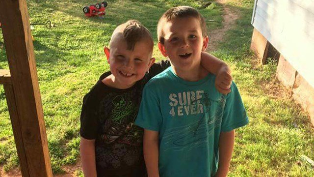 Korbin Williams (L) and 8-year-old Caleb who tried to save him. (Source: Family)
