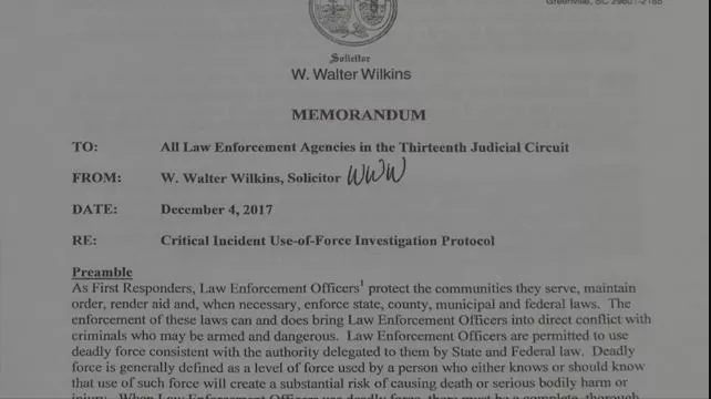 The memo lays out a new policy regarding officer-involved shooting investigations.
