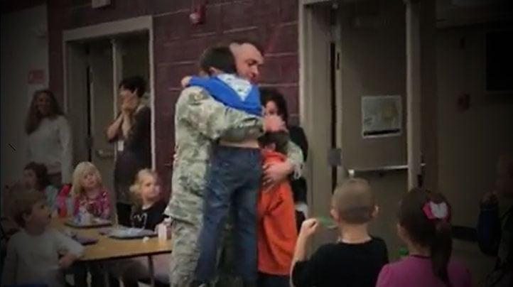Sgt. Sean Gunter surprises sons Wyatt and Caleb (Source: Family)