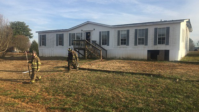 Scene of mobile home fire on Elaine Drive. (12/16/17 FOX Carolina)