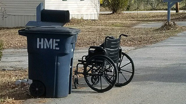 Wheelchair found on Sunday. (Credit: Ben Humphries)