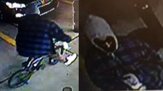 Surveillance of the 7-11 suspect and bicycle (Source: SPD)