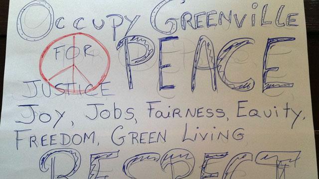 A few protestors gather at McPherson Park for Occupy Greenville. (Oct. 14, 2011/FOX  Carolina)