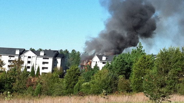 32 families are displaced following an apartment fire at Haven at Berry Shoals. (Oct. 15, 2011/FOX Carolina)