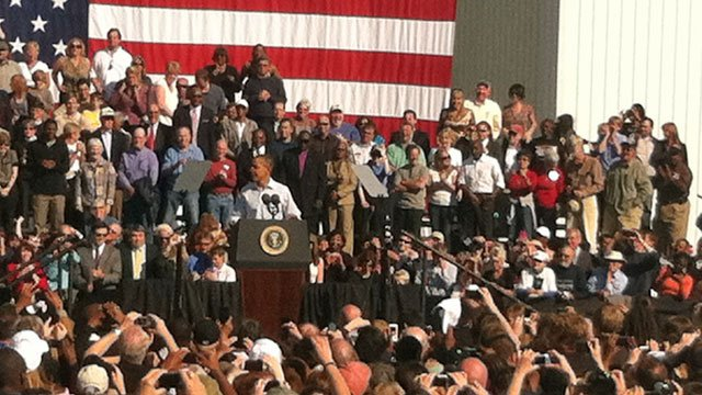President Barack Obama speaks to a crowd at the Asheville Regional Airport. (Oct. 17, 2011/FOX Carolina)