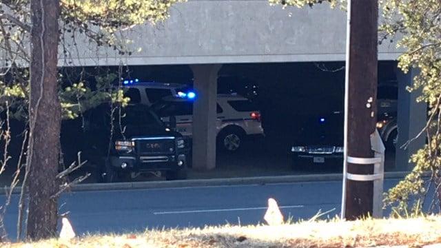Police in parking deck outside Haywood Mall (Dec. 28, 2017/FOX Carolina)
