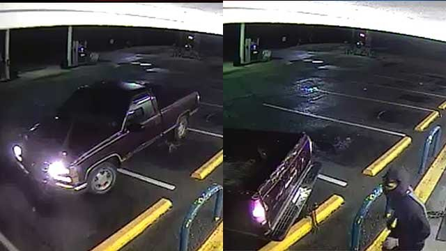 The vehicle and one of the suspects. (Source: Union Co. Sheriff's Office).