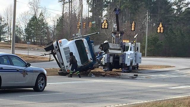 Tipped over crane on SC 80 at 101. (12/30/17 FOX Carolina)