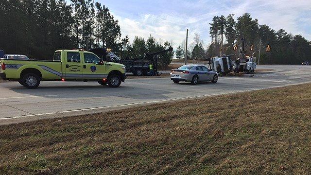 Tipped over crane on SC 80 at 101. (12/30/17 FOX Carolina)