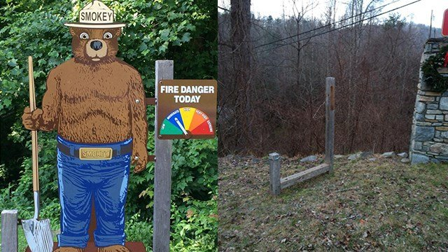 Smokey Bear Fire Danger sign before (L) and after (R). (Credit: Broad River Fire & Rescue)