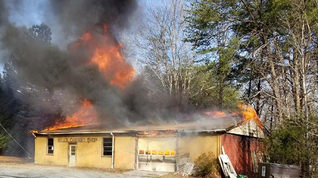 Business fire in Polk Co. (Credit: Town of Columbus Fire Department)