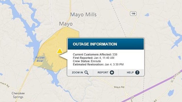 Outage near Mayo Road. (Source: Duke Energy Outage Map)