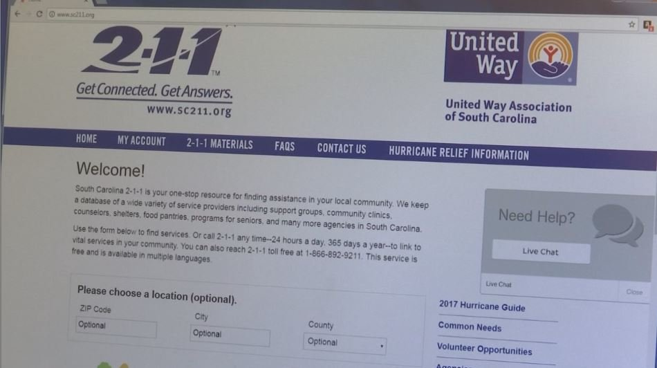 The United Way of South Carolina's SC 211 resource connects people in need to different organizations that can help with various situations (FOX Carolina: 1/8/2018).