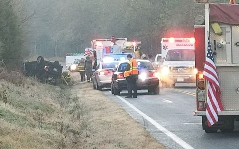 Scene of the crash on High Shoals Road (FOX Carolina/ Jan. 9, 2018)