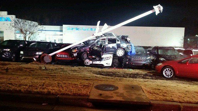 Driver crashes into car dealership in Anderson. (Source: Eyewitness)
