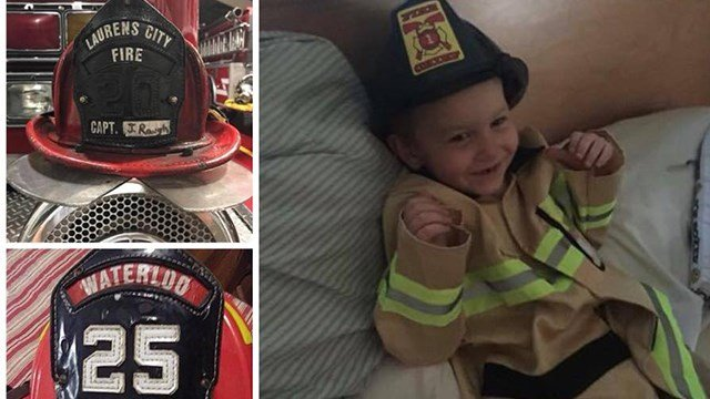 James dressed as a firefighter. (Source: Family)