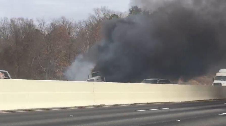 Fire on I-85 southbound (Jan. 10, 2018/FOX Carolina)