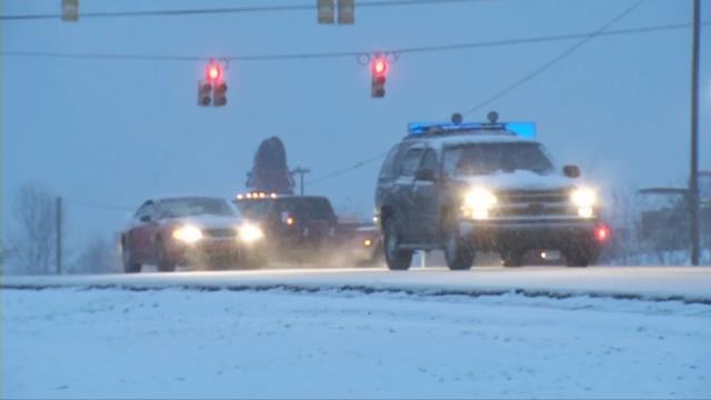 Ice sticking around in Northern Greenville Co.