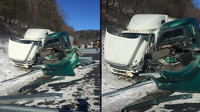 Three tractor trailers overturn on I-77 near Virginia, North Carolina border