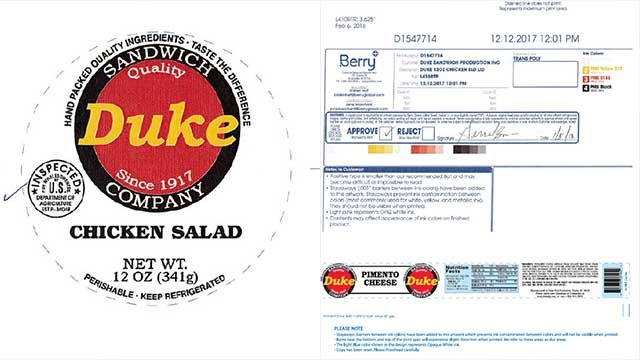 The label of the recalled product. (Source: USDA).