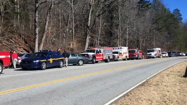 Law enforcement on scene at Wildcat Falls. (FOX Carolina/Jan. 19, 2018).