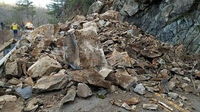 Crews respond to rock slide on NC 209 Highway. (Credit: Madison Co. 911)