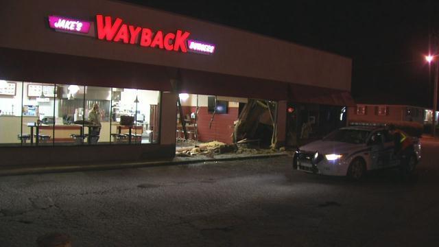 Damage to Wayback Burgers on John B. White Sr. Blvd (FOX Carolina/ Jan. 25, 2018)