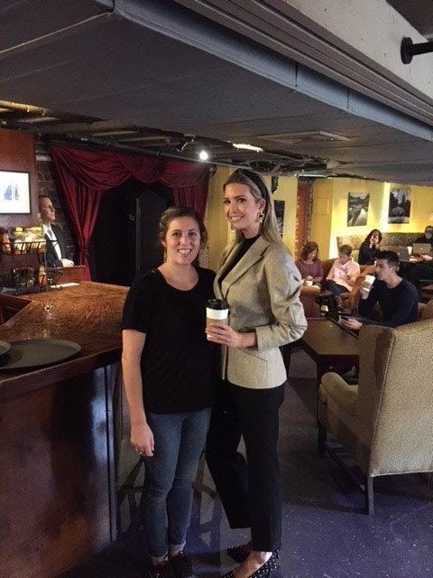 Ivanka Trump with Coffee Underground employee (Source: Rebecca Robins)