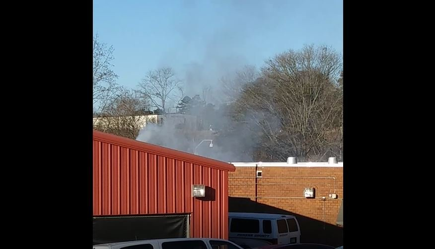 Smoke seen coming from the Pickens Co. jail (Viewer submitted image)