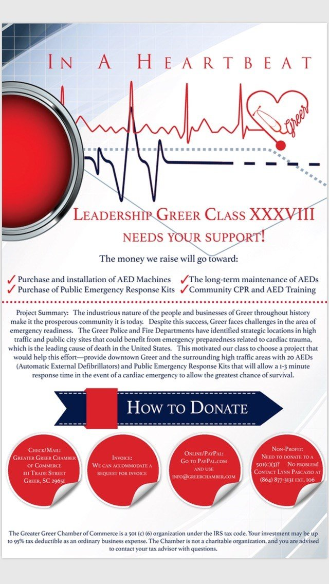 Leadership Greer's class project includes placing 20 AED's and Public Emergency Response Kits throughout city (Source: Leadership Greer).