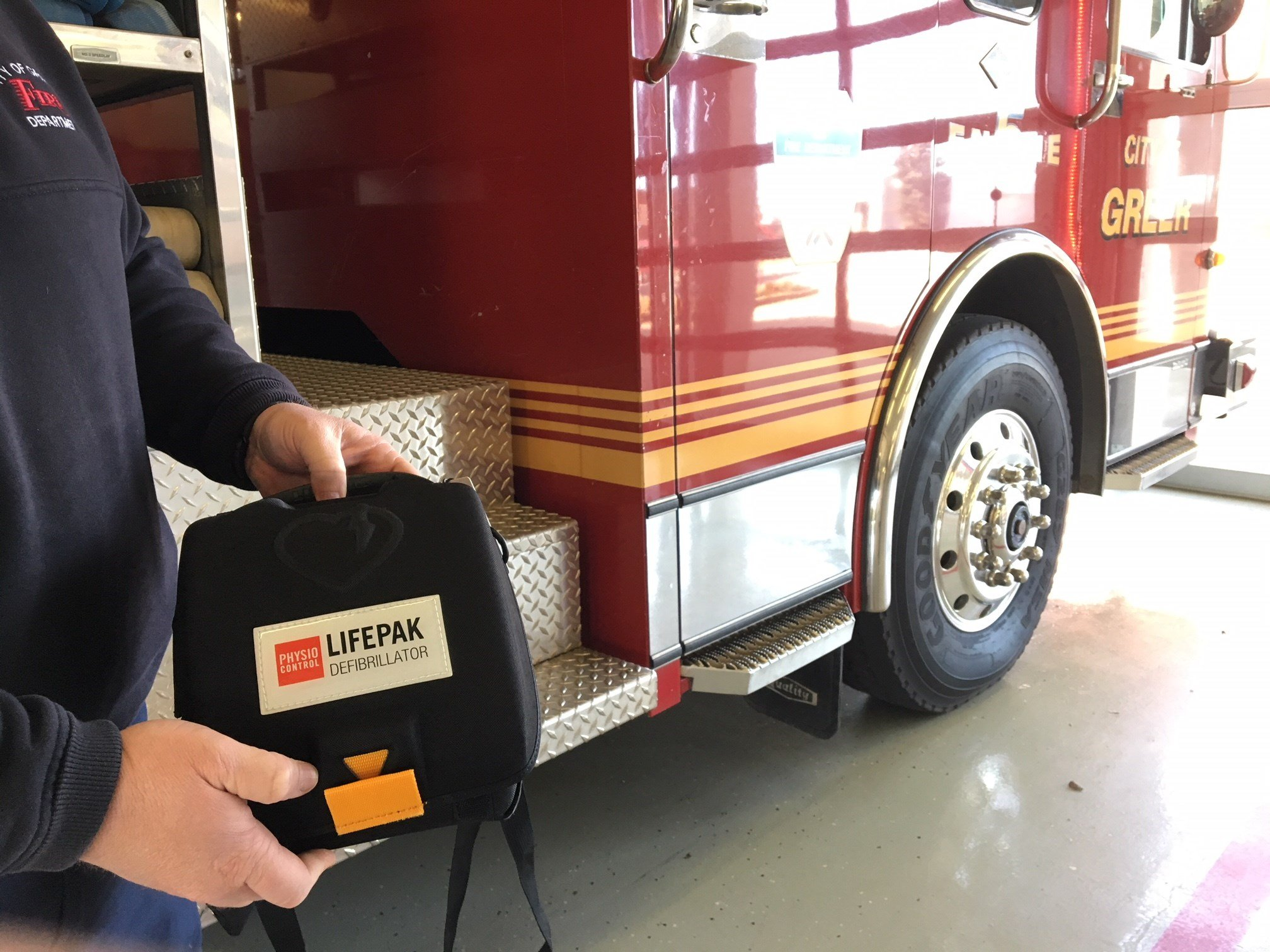 AED kit at Greer's Fire Department (FOX Carolina: 1/312018).