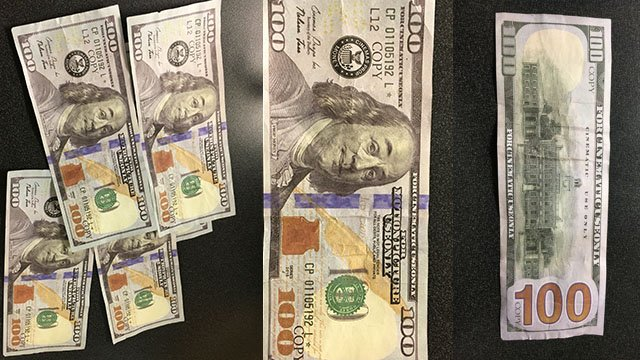 Counterfeit bills (Source: Greenville PD)