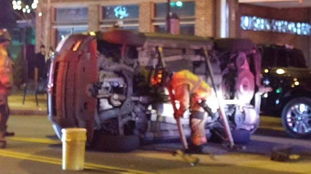 Over turned vehicle on S Main. (Source: Eyewitness)
