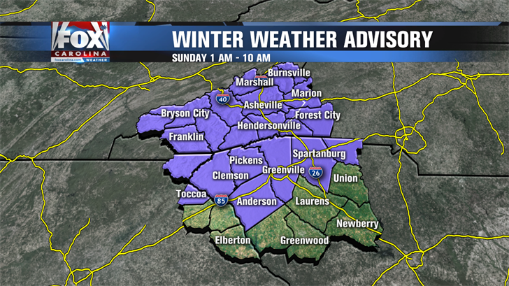 Winter Weather Advisory in effect until noon Sunday