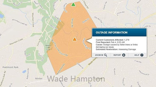 Duke Energy outages in Greenville Co. (Source: Duke Energy Outage Map)