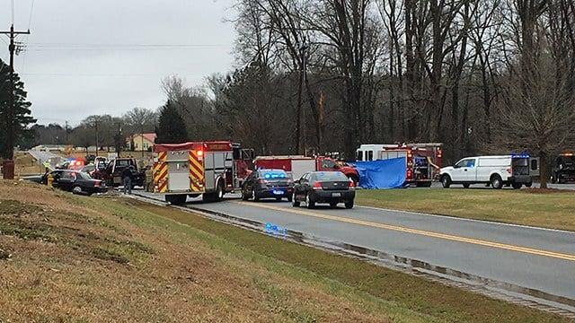 Scene of fatal crash on US 221. (2/4/18 FOX Carolina)