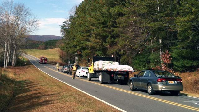 Scene of the accident on Silver Creek Road in Polk County. (Nov. 8, 2011/FOX Carolina)