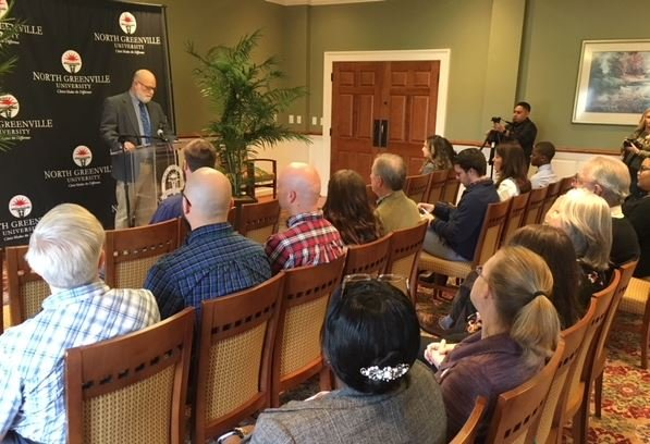 The new partnership is announced at a news conference at NGU (Feb. 6, 2018/ FOX Carolina)
