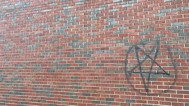 Vandalism at Reedy Fork Baptist Church. (2/6/18 FOX Carolina)